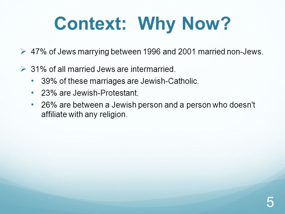 Context: Why Now. 47% of Jews marrying between 1996 and 2001 married non-Jews.