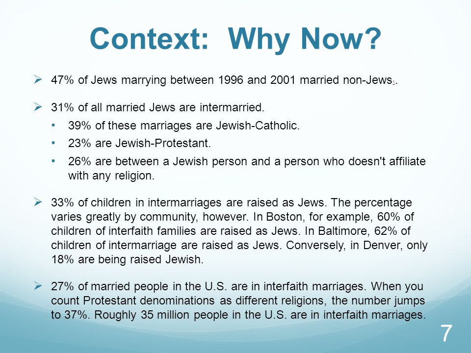Context: Why Now.  47% of Jews marrying between 1996 and 2001 married non-Jews 1.