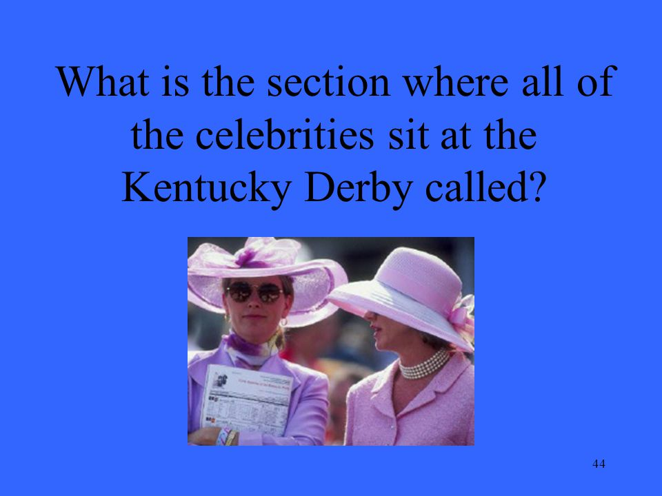 44 What is the section where all of the celebrities sit at the Kentucky Derby called?