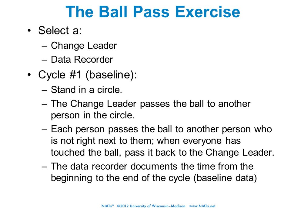 The Ball Pass Exercise Select a: –Change Leader –Data Recorder Cycle #1 (baseline): –Stand in a circle. –The Change Leader passes the ball to another