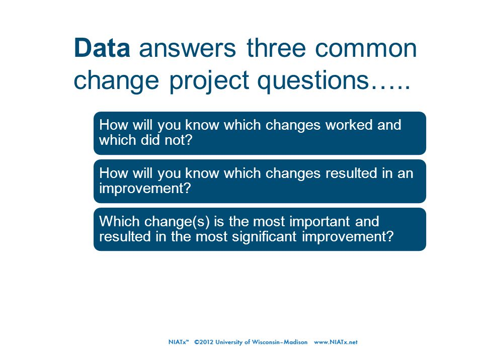How will you know which changes worked and which did not? How will you know which changes resulted in an improvement? Which change(s) is the most impo
