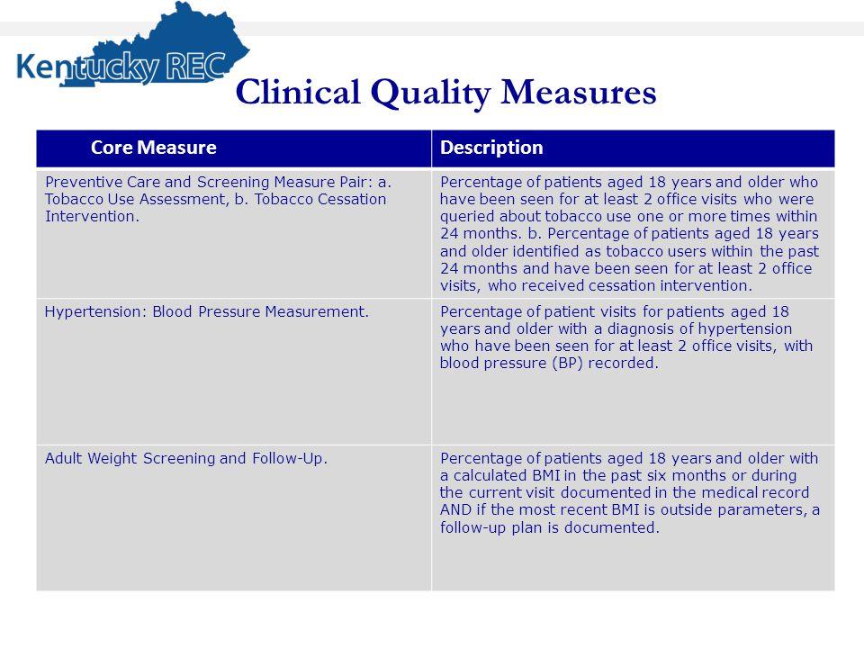 Core Core MeasureDescription Preventive Care and Screening Measure Pair: a.