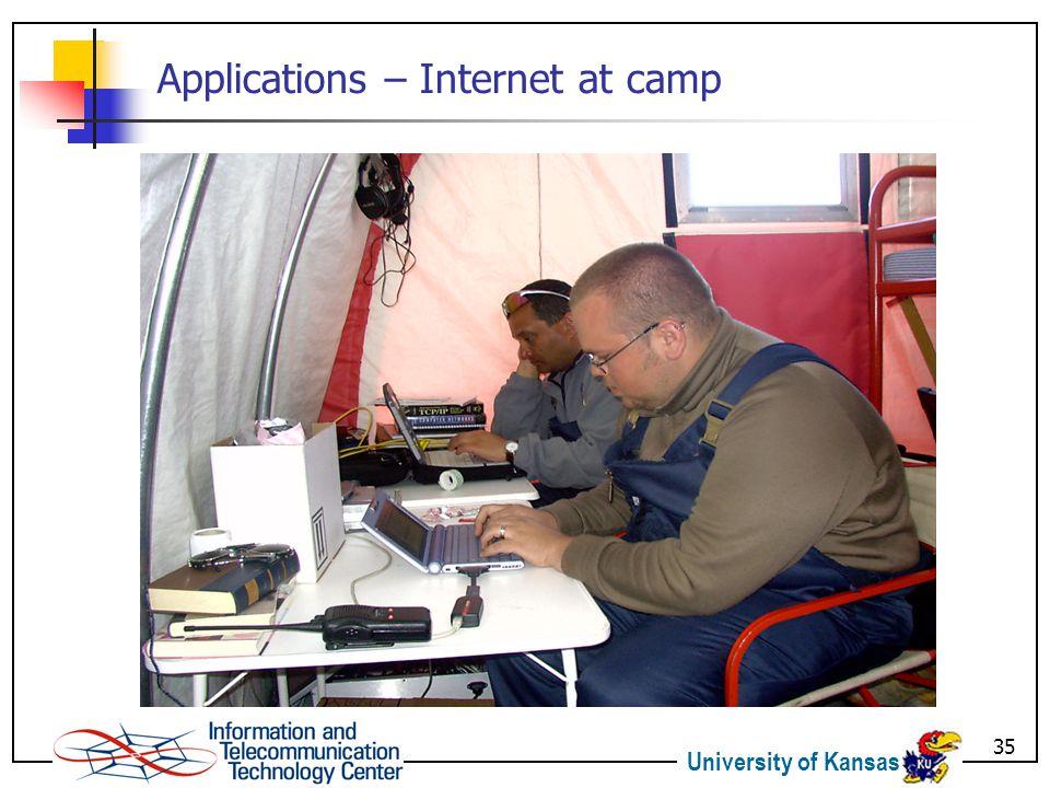 University of Kansas 35 Applications – Internet at camp