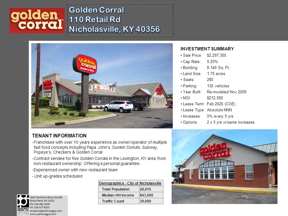 GOLDEN CORRAL Started in 1973 (North Carolina) America's #1 buffet/grill concept for last 12 years Serving breakfast, lunch & dinner Over 480 locations; 370+ franchised, in 40 states Expansion planned for 40 new units AREA INFORMATION On main commercial thoroughfare with many national retailers Nicholasville is the county seat of Jessamine County Population 28,015 (2010) up from 19,680 (2000), a 42% increase Commuter suburb of Lexington (under 10 miles) Median family income approx $43,000 Home of Asbury Univ; 1.300 student liberal arts college and the Asbury Theological Seminary, a 1,700 student graduate school offering masters & doctoral degrees Off US 27; main north/south arterial road from Lexington (39,000 vpd)