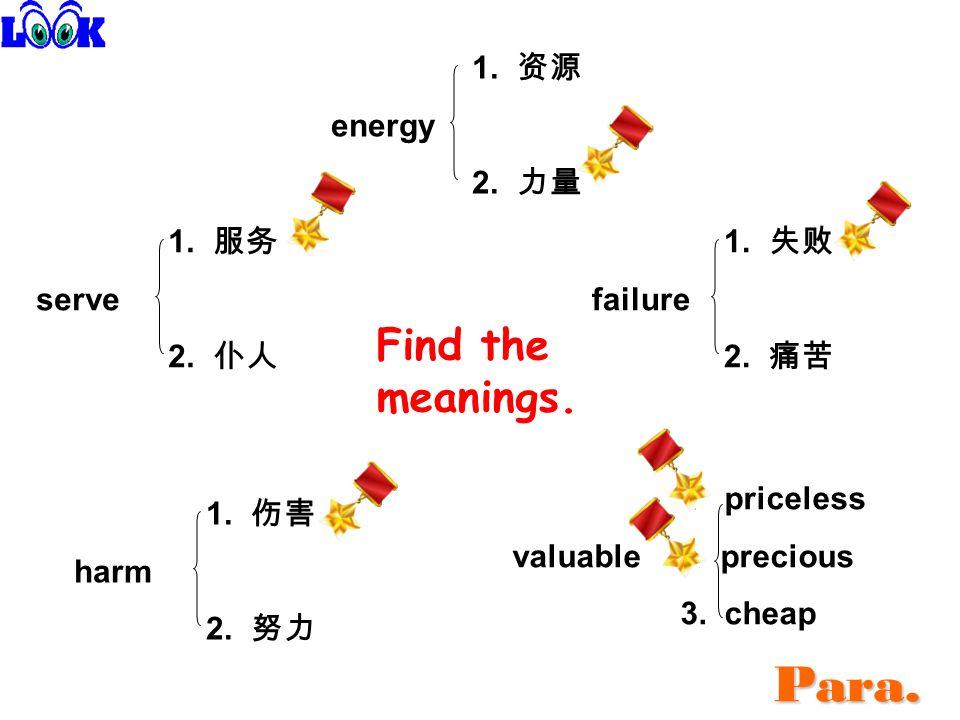 1. 资源 energy 2. 力量 1. 服务 serve 2. 仆人 1. 失败 failure 2.