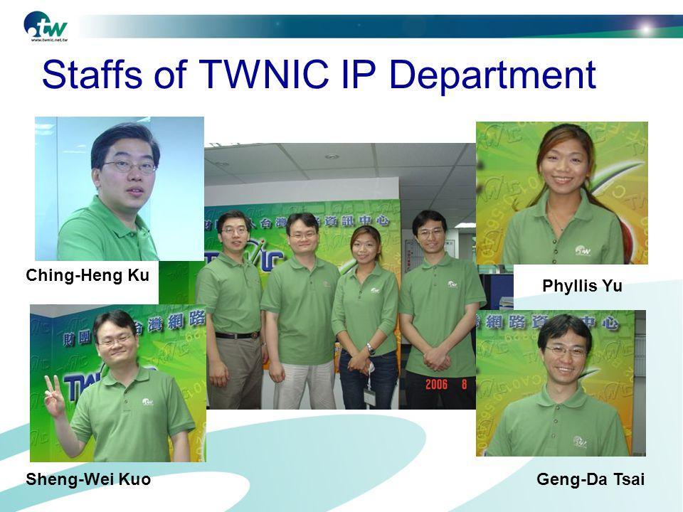 Staffs of TWNIC IP Department Ching-Heng Ku Sheng-Wei KuoGeng-Da Tsai Phyllis Yu