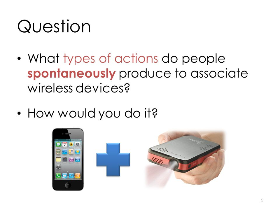 Question What types of actions do people spontaneously produce to associate wireless devices.