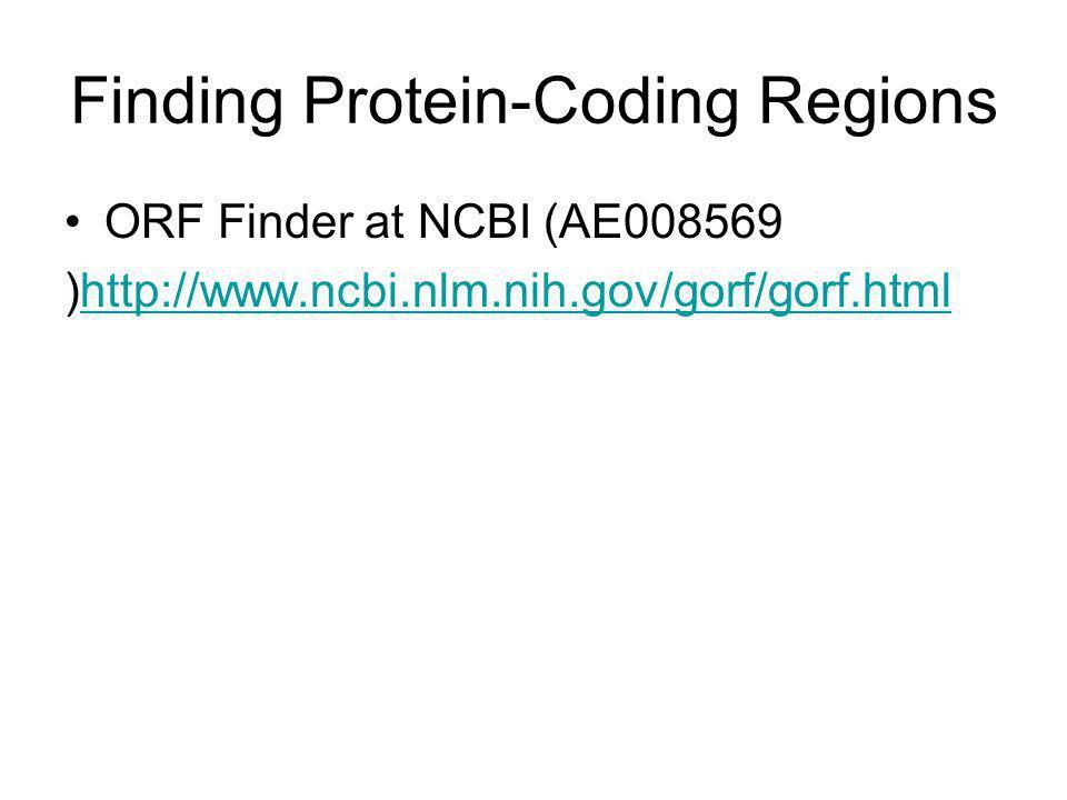 Finding Protein-Coding Regions ORF Finder at NCBI (AE008569 )http://www.ncbi.nlm.nih.gov/gorf/gorf.htmlhttp://www.ncbi.nlm.nih.gov/gorf/gorf.html