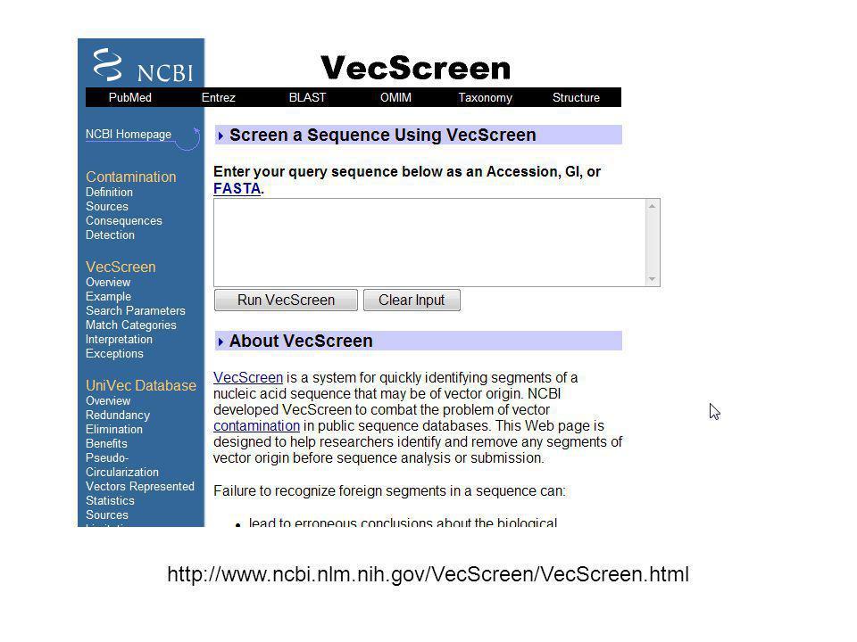http://www.ncbi.nlm.nih.gov/VecScreen/VecScreen.html