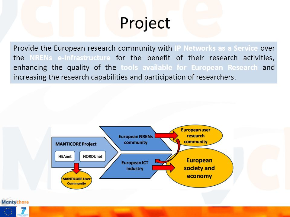 Project Provide the European research community with IP Networks as a Service over the NRENs e-Infrastructure for the benefit of their research activities, enhancing the quality of the tools available for European Research and increasing the research capabilities and participation of researchers.