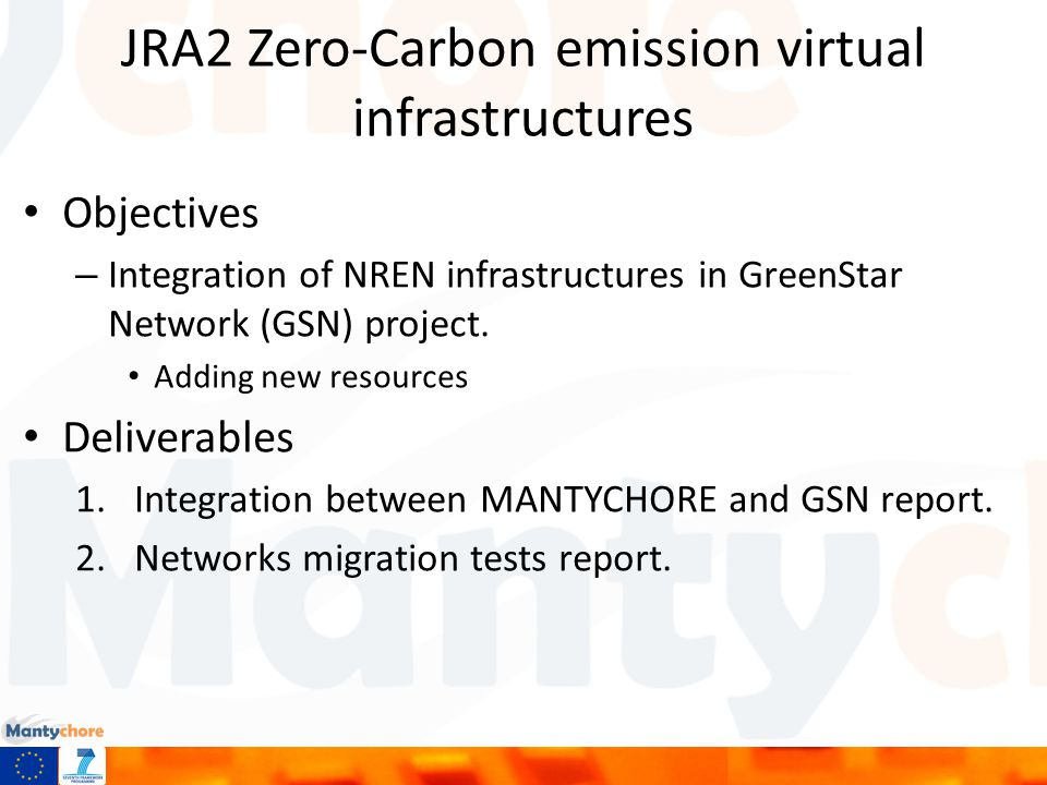 JRA2 Zero-Carbon emission virtual infrastructures Objectives – Integration of NREN infrastructures in GreenStar Network (GSN) project.
