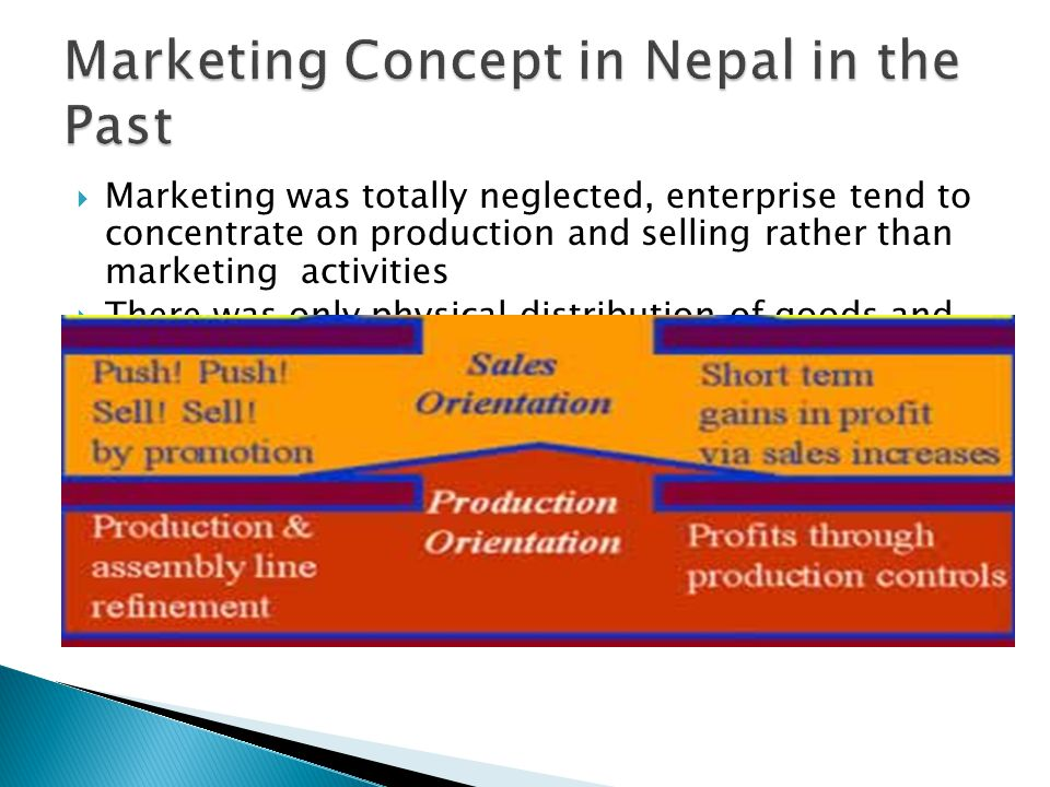 MMarketing was totally neglected, enterprise tend to concentrate on production and selling rather than marketing activities TThere was only physical distribution of goods and services from producer to consumer WWhole transaction start after good production and end after good has been sold NNo enterprise provided any allied activity of marketing AAt those period main object of marketing was to maximize profit by maximizing production and sales