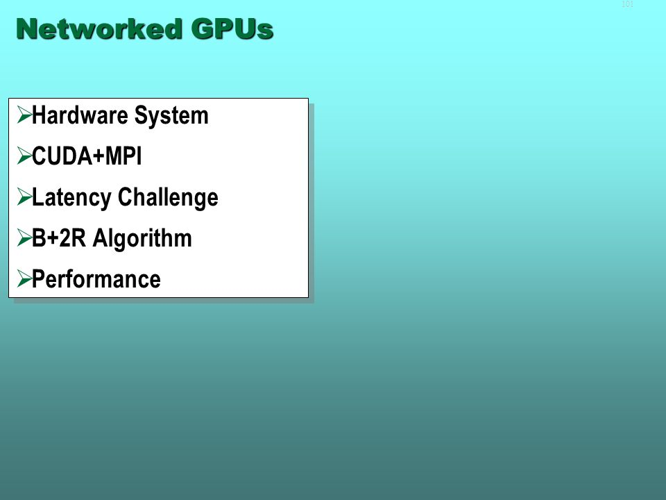 Part III  Networked GPUs  Other Types of GPU Usage in Simulations  Future Developments and Outlook  Networked GPUs  Other Types of GPU Usage in Simulations  Future Developments and Outlook