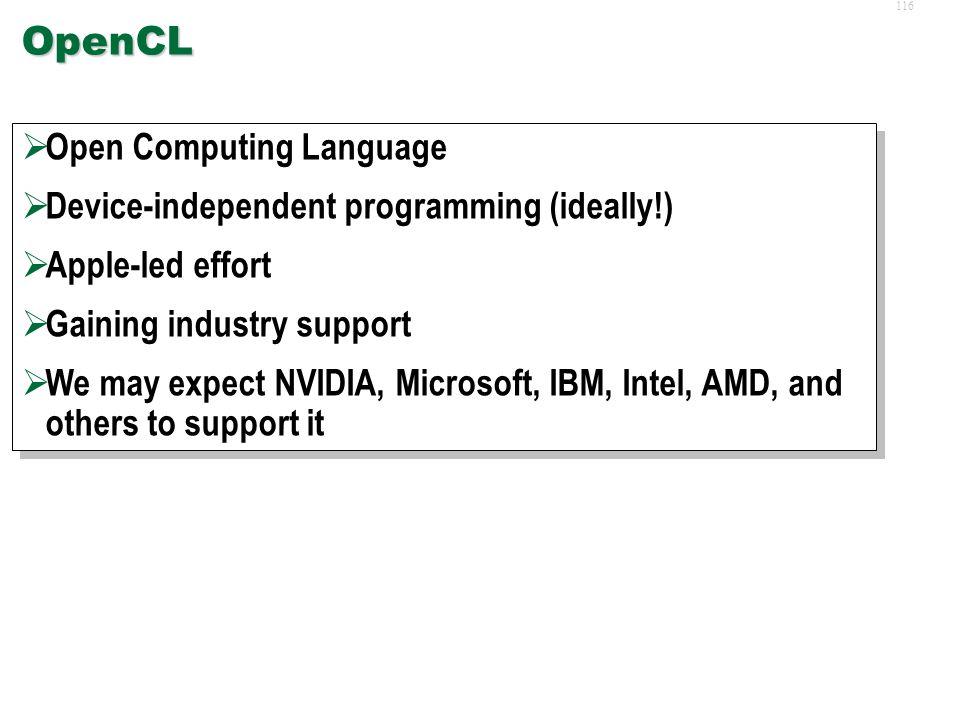 115 Future Developments and Outlook  OpenCL  Nexus, CUDA-C++, MSVC  Fermi/GTX300  Heterogeneous Cores  GPU-based Supercomputing  Packaged and Cu