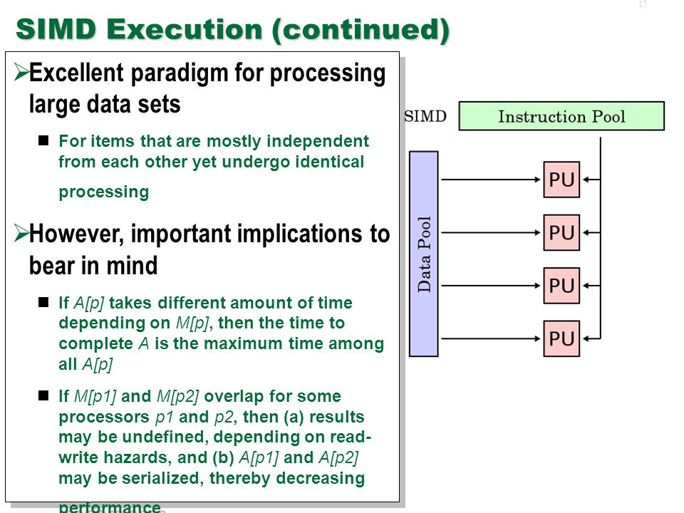 16 SIMD Execution Single Instruction Multiple Data (SIMD) is a style of parallel execution  Identical operation A is executed on multiple processors simultaneously  Each operation A[p] on processor p operates on a distinct data set M[p]  Conceptually, the operation A is complete only when all processors complete their operation A[p] on M[p] Single Instruction Multiple Data (SIMD) is a style of parallel execution  Identical operation A is executed on multiple processors simultaneously  Each operation A[p] on processor p operates on a distinct data set M[p]  Conceptually, the operation A is complete only when all processors complete their operation A[p] on M[p]