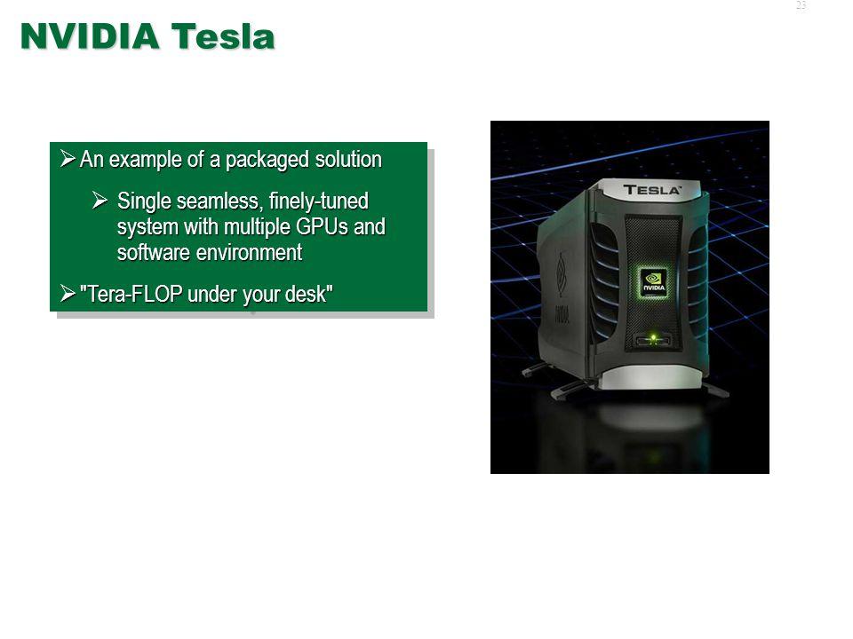 22 NVIDIA GeForce, GTX  Original GeForce 6000, 7000, 8000, and 9000 series  Latest GTX 295  Upcoming GTX 300  Affordable, off-the-shelf  Power-hu
