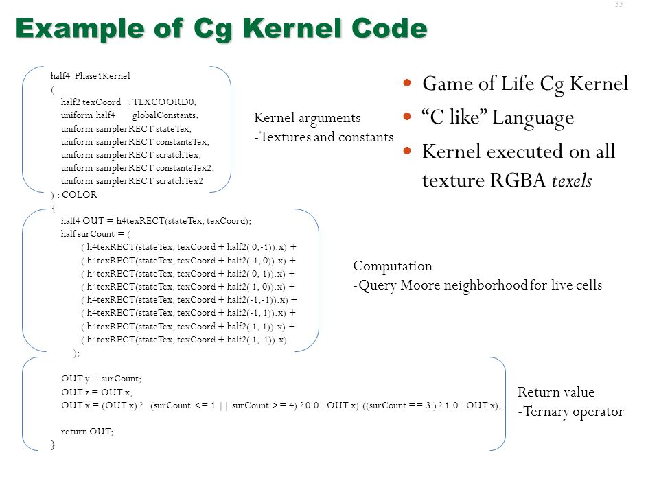 32 OpenGL, Cg  Combination of OpenGL (Open Graphics Language) and Cg (C for graphics)  Re-used for general-purpose computation on GPUs  Combination of OpenGL (Open Graphics Language) and Cg (C for graphics)  Re-used for general-purpose computation on GPUs