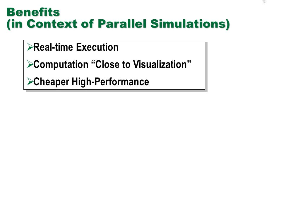 37Applications  Benefits for Parallel Simulations  Common GPU Applications  Non-Traditional GPU Applications  Benefits for Parallel Simulations  Common GPU Applications  Non-Traditional GPU Applications