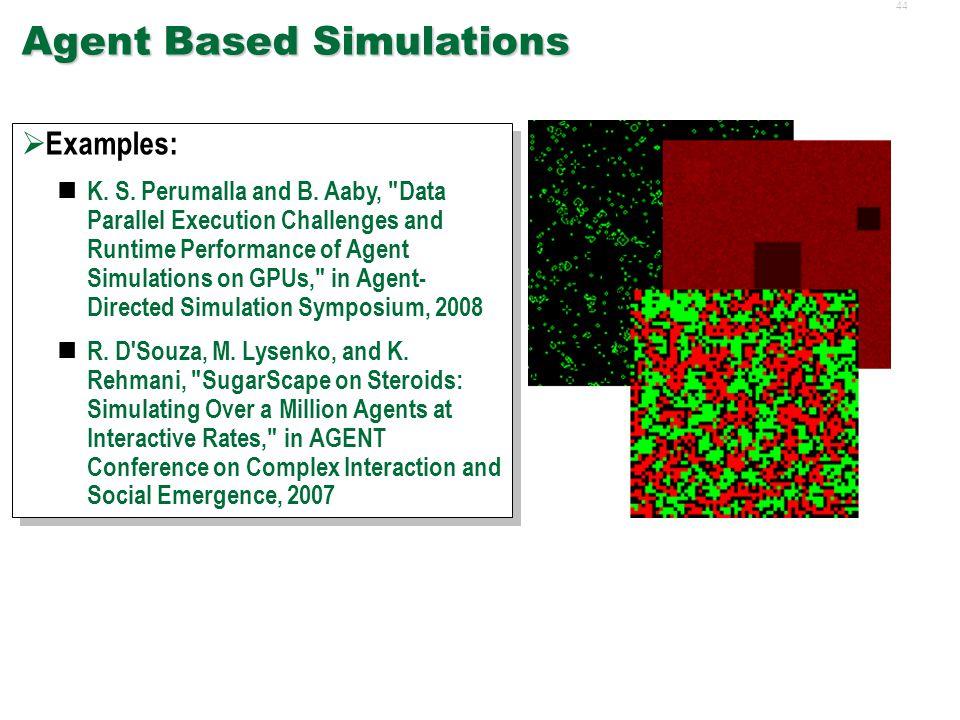 43 Non-Traditional GPU Applications  Agent Based Simulations  Transportation Simulations  Network Simulation