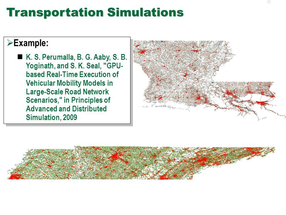 44 Agent Based Simulations  Examples: K. S. Perumalla and B.