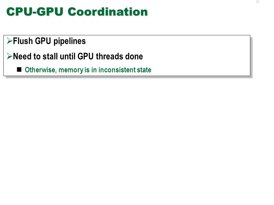 65Synchronization  CPU-GPU Coordination  Intra-GPU Thread Coordination