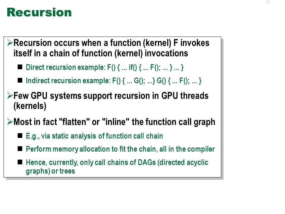 82 Platform Limitations  Recursion  Thread Stack Sizes  Thread Pause/Resume