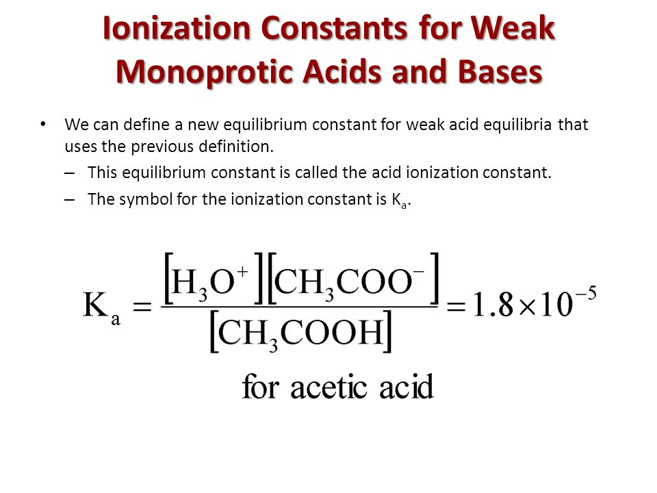 Ionization Constants for Weak Monoprotic Acids and Bases We can define a new equilibrium constant for weak acid equilibria that uses the previous definition.