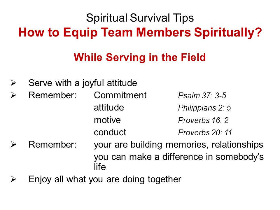 Spiritual Survival Tips How to Equip Team Members Spiritually? While Serving in the Field  Serve with a joyful attitude  Remember:Commitment Psalm 3