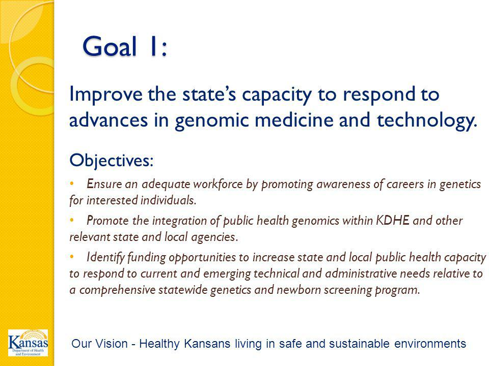 Goal 1: Improve the state's capacity to respond to advances in genomic medicine and technology.