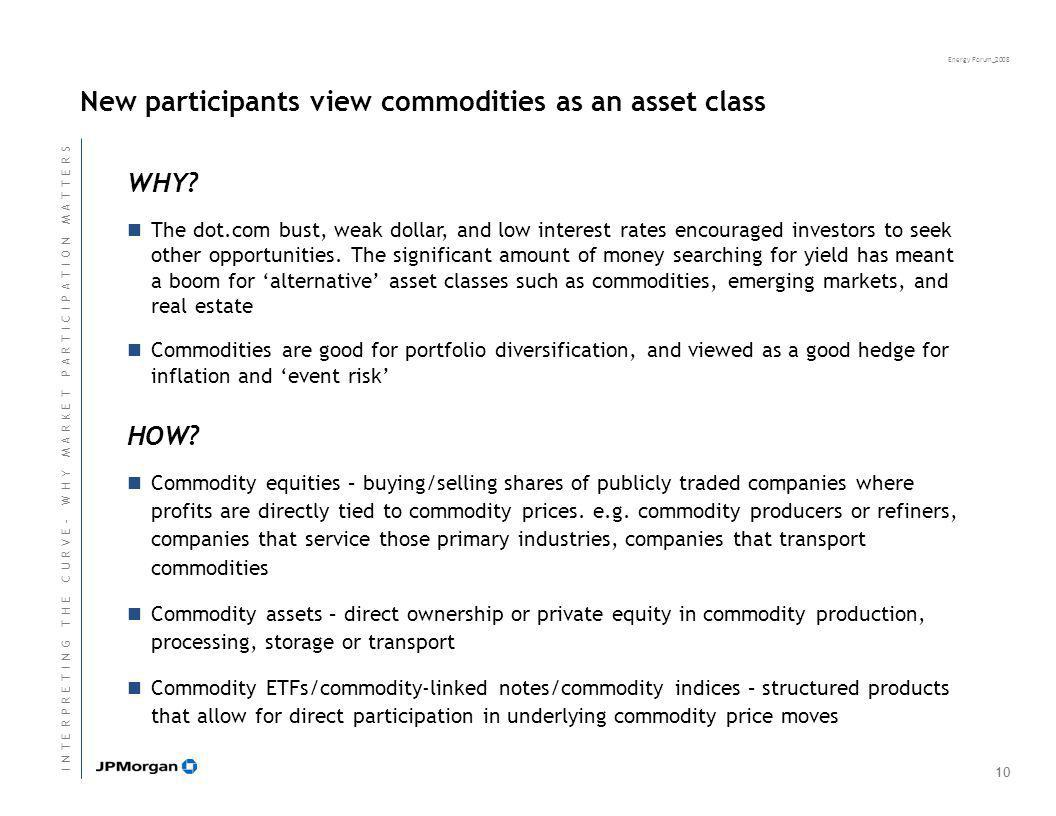 Energy Forum_2008 New participants view commodities as an asset class WHY.