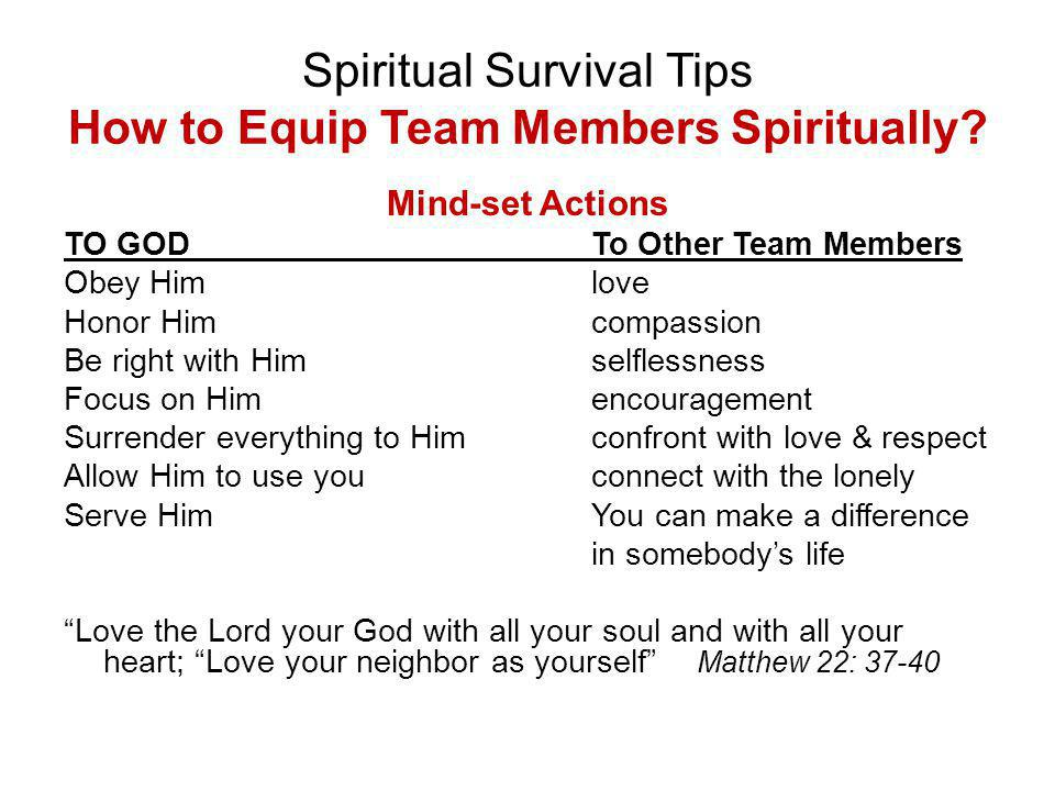 Spiritual Survival Tips How to Equip Team Members Spiritually.