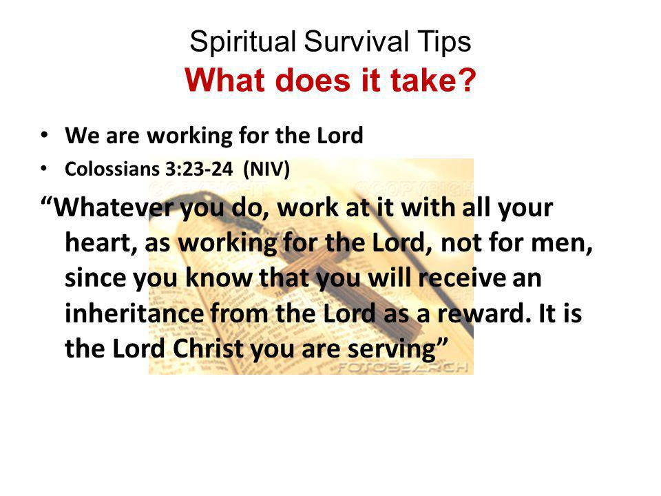 Spiritual Survival Tips What does it take.