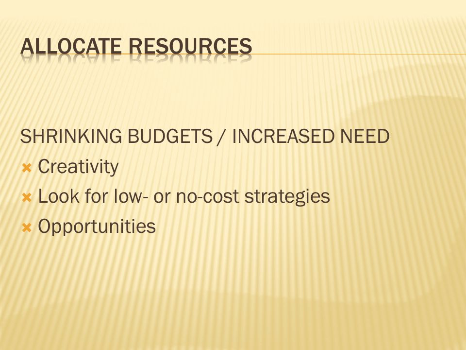 SHRINKING BUDGETS / INCREASED NEED  Creativity  Look for low- or no-cost strategies  Opportunities