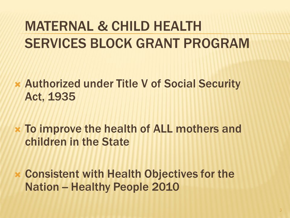 MATERNAL & CHILD HEALTH SERVICES BLOCK GRANT PROGRAM  Authorized under Title V of Social Security Act, 1935  To improve the health of ALL mothers and children in the State  Consistent with Health Objectives for the Nation -- Healthy People 2010 3