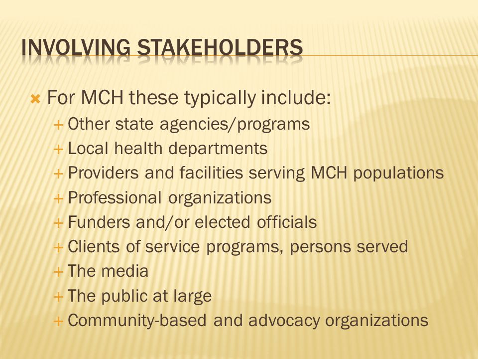  For MCH these typically include:  Other state agencies/programs  Local health departments  Providers and facilities serving MCH populations  Professional organizations  Funders and/or elected officials  Clients of service programs, persons served  The media  The public at large  Community-based and advocacy organizations