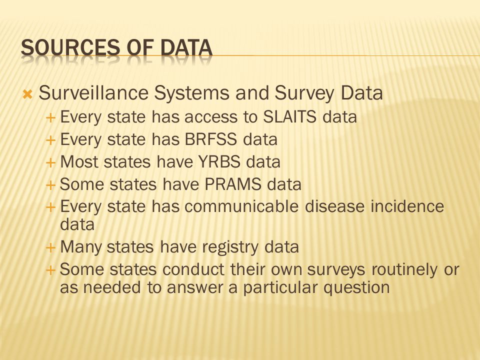  Surveillance Systems and Survey Data  Every state has access to SLAITS data  Every state has BRFSS data  Most states have YRBS data  Some states have PRAMS data  Every state has communicable disease incidence data  Many states have registry data  Some states conduct their own surveys routinely or as needed to answer a particular question