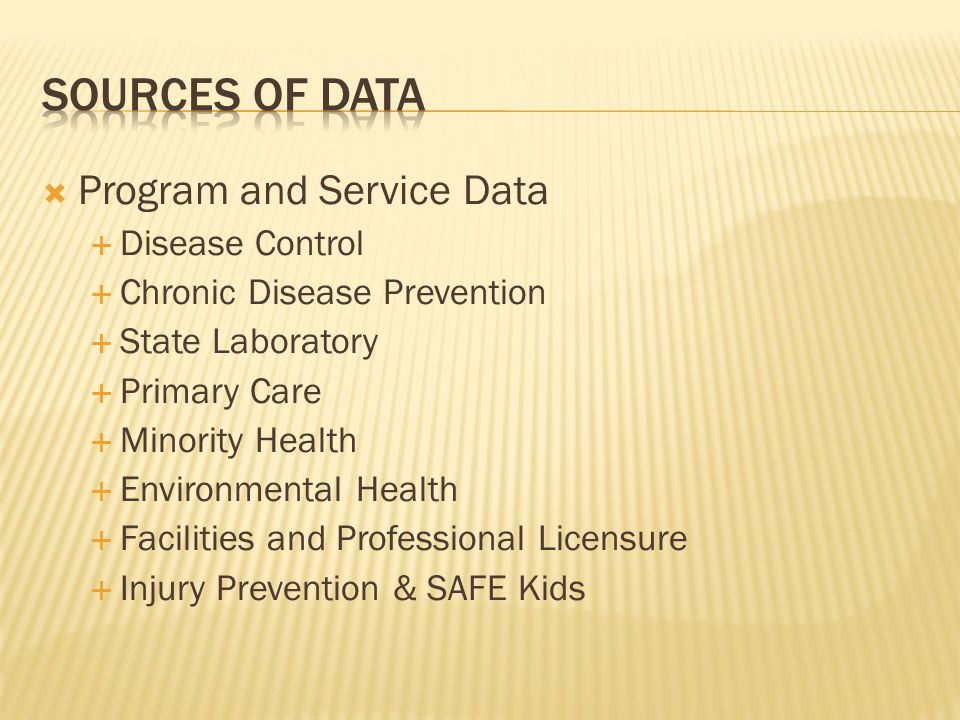  Program and Service Data  Disease Control  Chronic Disease Prevention  State Laboratory  Primary Care  Minority Health  Environmental Health  Facilities and Professional Licensure  Injury Prevention & SAFE Kids