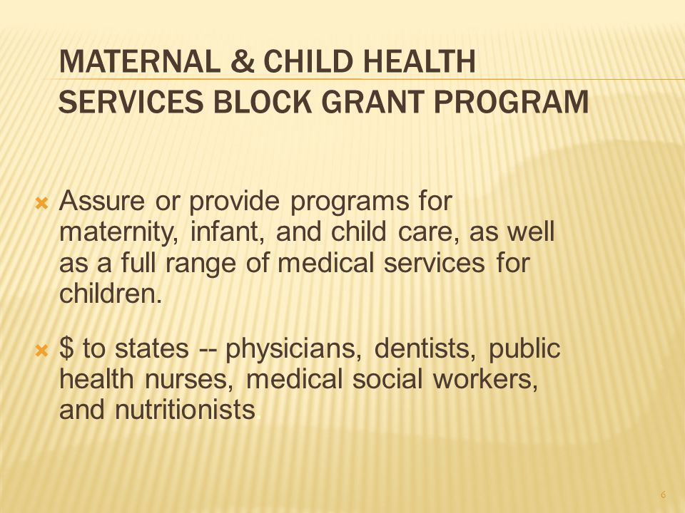 MATERNAL & CHILD HEALTH SERVICES BLOCK GRANT PROGRAM  Assure or provide programs for maternity, infant, and child care, as well as a full range of medical services for children.