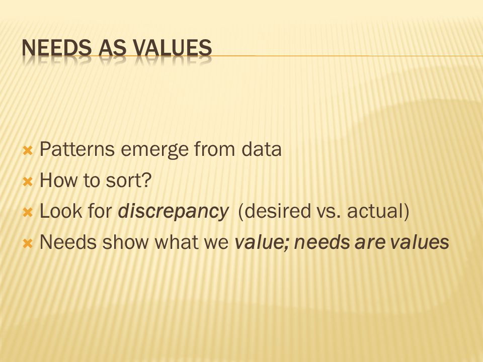  Patterns emerge from data  How to sort.  Look for discrepancy (desired vs.