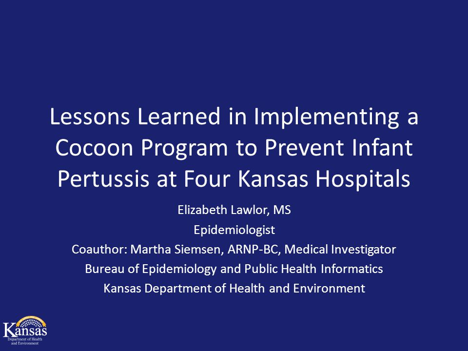 Initial Implementation January 2010: Presentations to hospitals and local health departments Goals: – Mom Standing orders for postpartum Tdap Tdap administered on hospital discharge – Caregiver Voucher given during pre-registration or during hospital stay