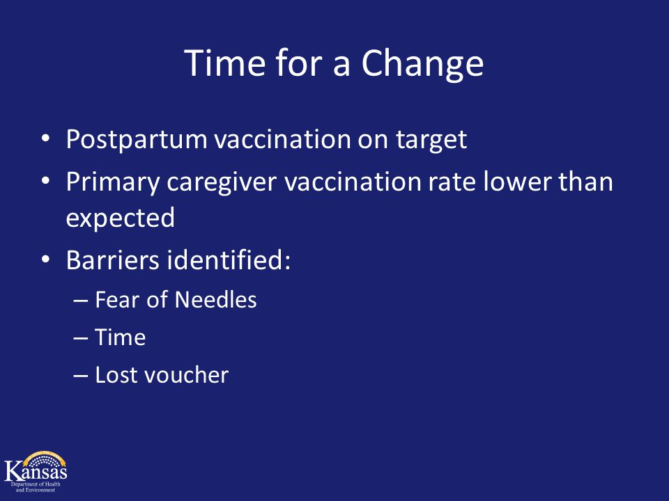 Time for a Change Postpartum vaccination on target Primary caregiver vaccination rate lower than expected Barriers identified: – Fear of Needles – Tim