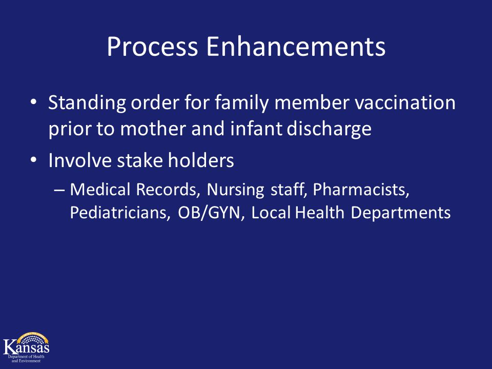 Process Enhancements Standing order for family member vaccination prior to mother and infant discharge Involve stake holders – Medical Records, Nursin