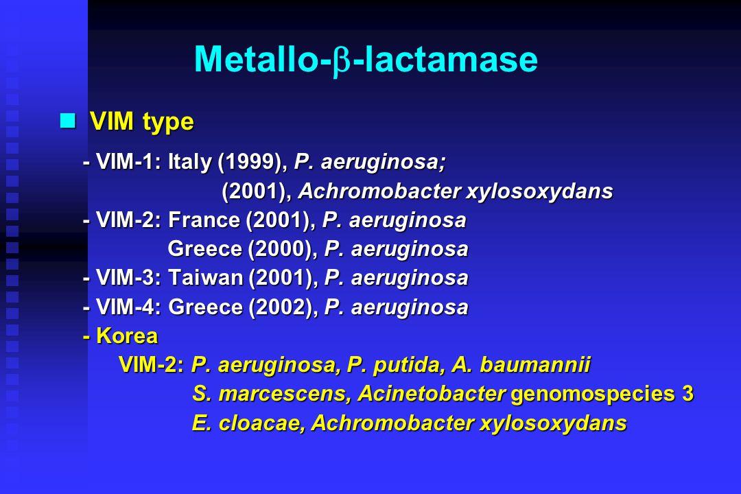 Metallo-  -lactamase IMP type IMP type - IMP-1: Japan (1990s): P.