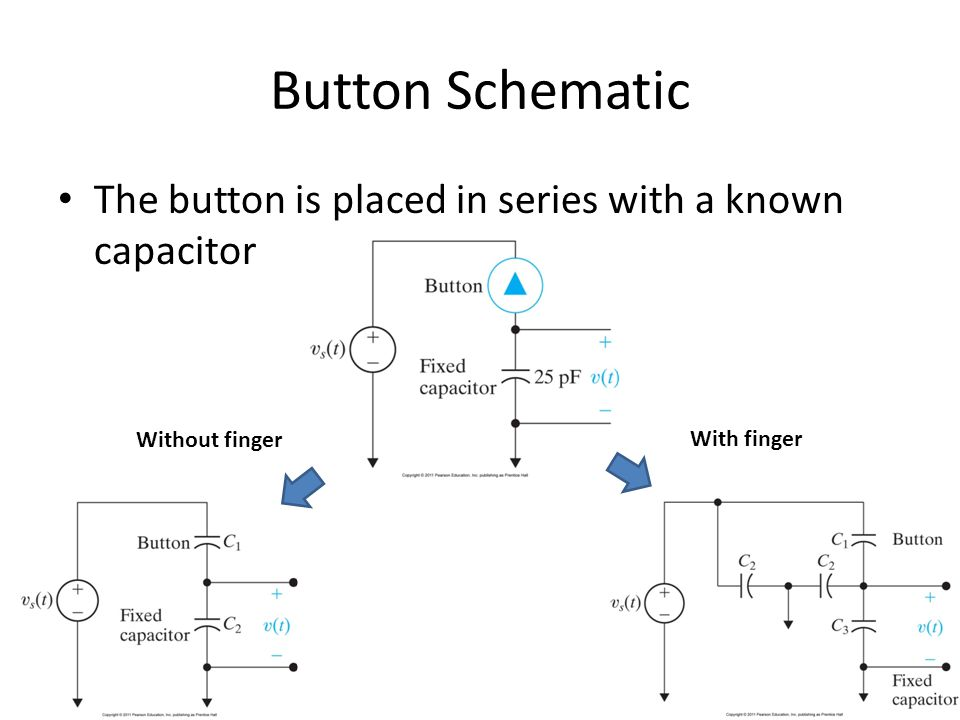 Button Schematic The button is placed in series with a known capacitor With finger Without finger