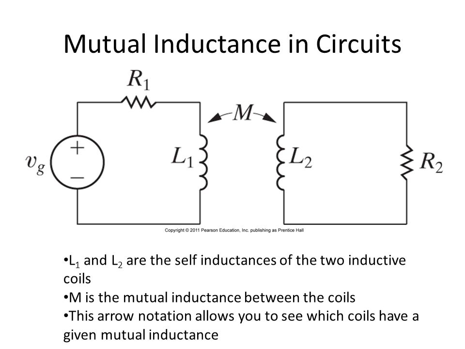 Mutual Inductance in Circuits L 1 and L 2 are the self inductances of the two inductive coils M is the mutual inductance between the coils This arrow notation allows you to see which coils have a given mutual inductance