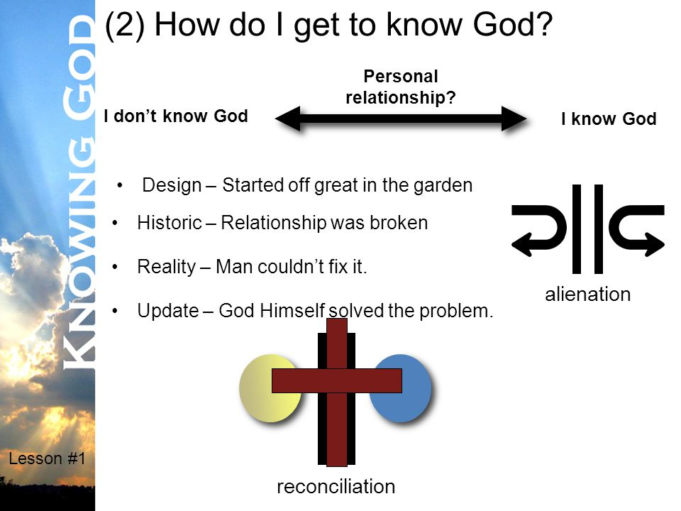Lesson #1 (2) How do I get to know God. Personal relationship.