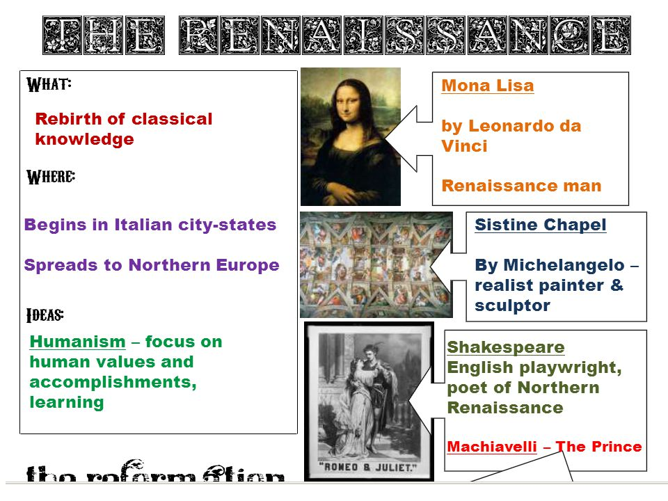 Rebirth of classical knowledge Begins in Italian city-states Spreads to Northern Europe Humanism – focus on human values and accomplishments, learning Mona Lisa by Leonardo da Vinci Renaissance man Sistine Chapel By Michelangelo – realist painter & sculptor Shakespeare English playwright, poet of Northern Renaissance Machiavelli – The Prince