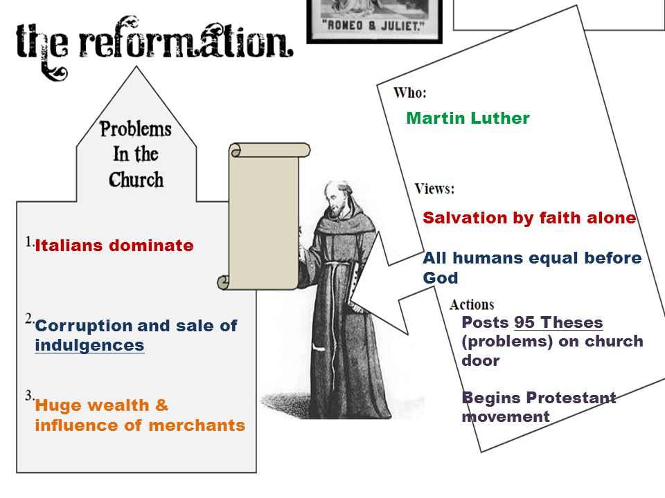 Italians dominate Corruption and sale of indulgences Huge wealth & influence of merchants Martin Luther Salvation by faith alone All humans equal before God Posts 95 Theses (problems) on church door Begins Protestant movement