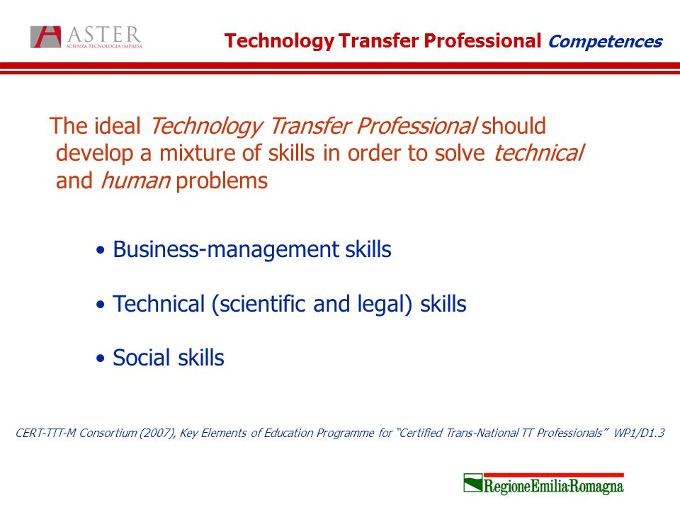 The ideal Technology Transfer Professional should develop a mixture of skills in order to solve technical and human problems Business-management skills Technical (scientific and legal) skills Social skills Technology Transfer Professional Competences CERT-TTT-M Consortium (2007), Key Elements of Education Programme for Certified Trans-National TT Professionals WP1/D1.3
