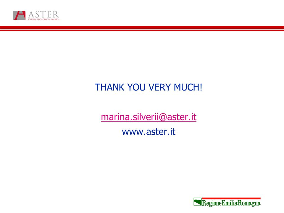 THANK YOU VERY MUCH! marina.silverii@aster.it www.aster.it
